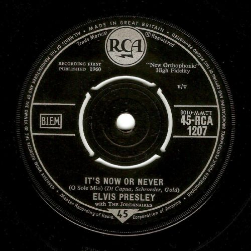 ELVIS PRESLEY It's Now Or Never Vinyl Record 7 Inch RCA 1960.